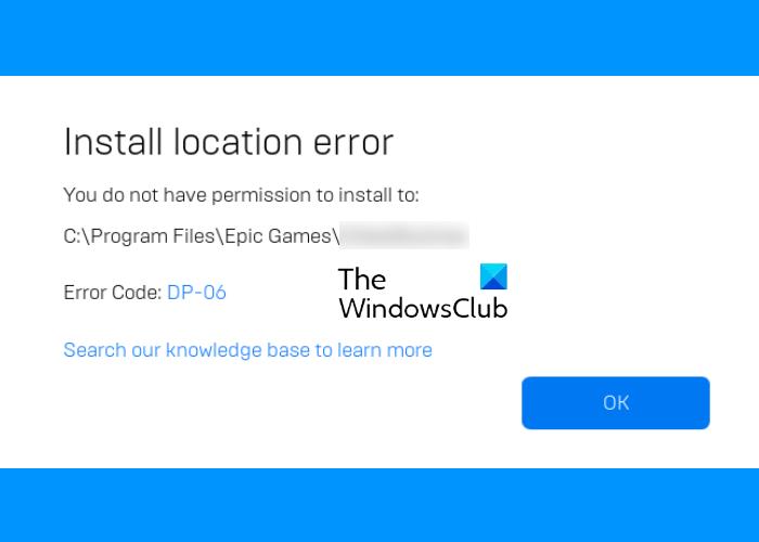 Epic Games error code DP-06