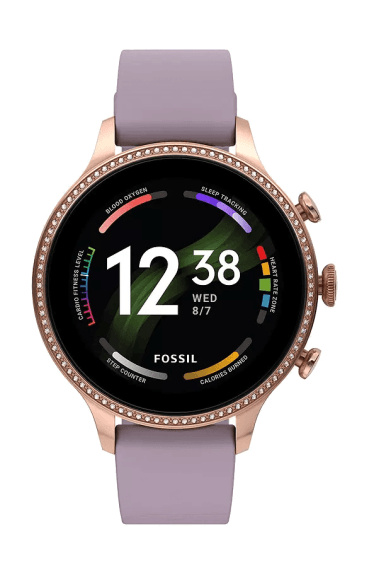 Fossil Gen 6 smartwatch for women with purple fabric strap