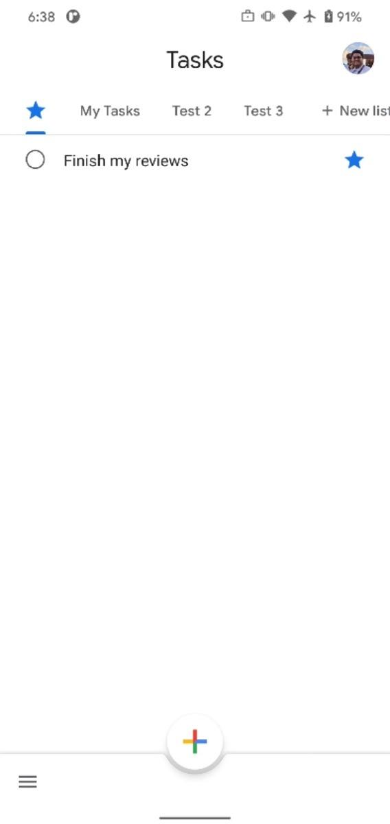 Starred list in Google Tasks app