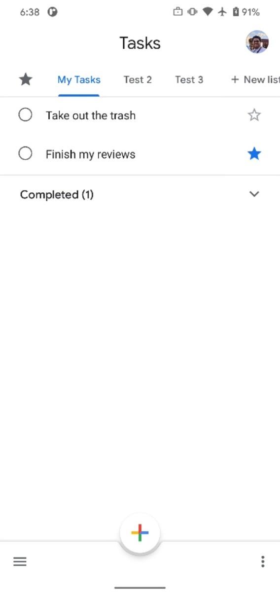 Google Tasks homescreen
