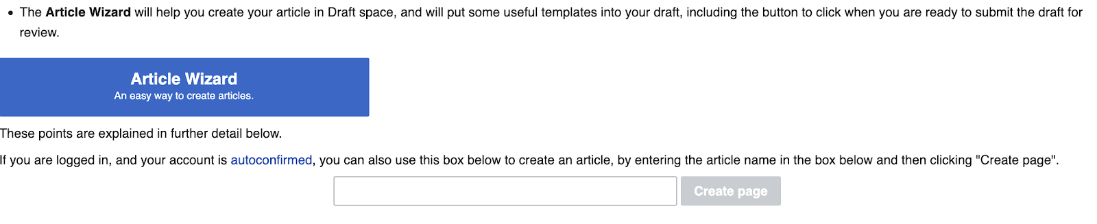 creating a wikipedia page for your company: create page