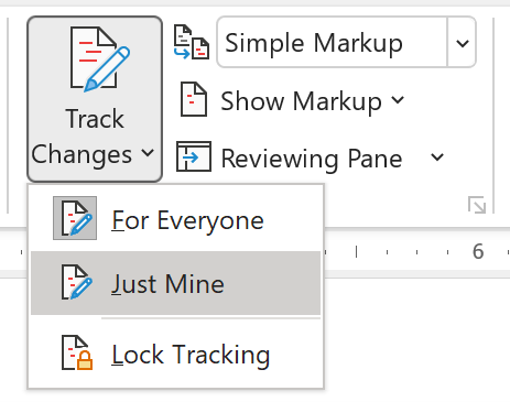 Screenshot showing Just Mine UI in Word for Track Changes.