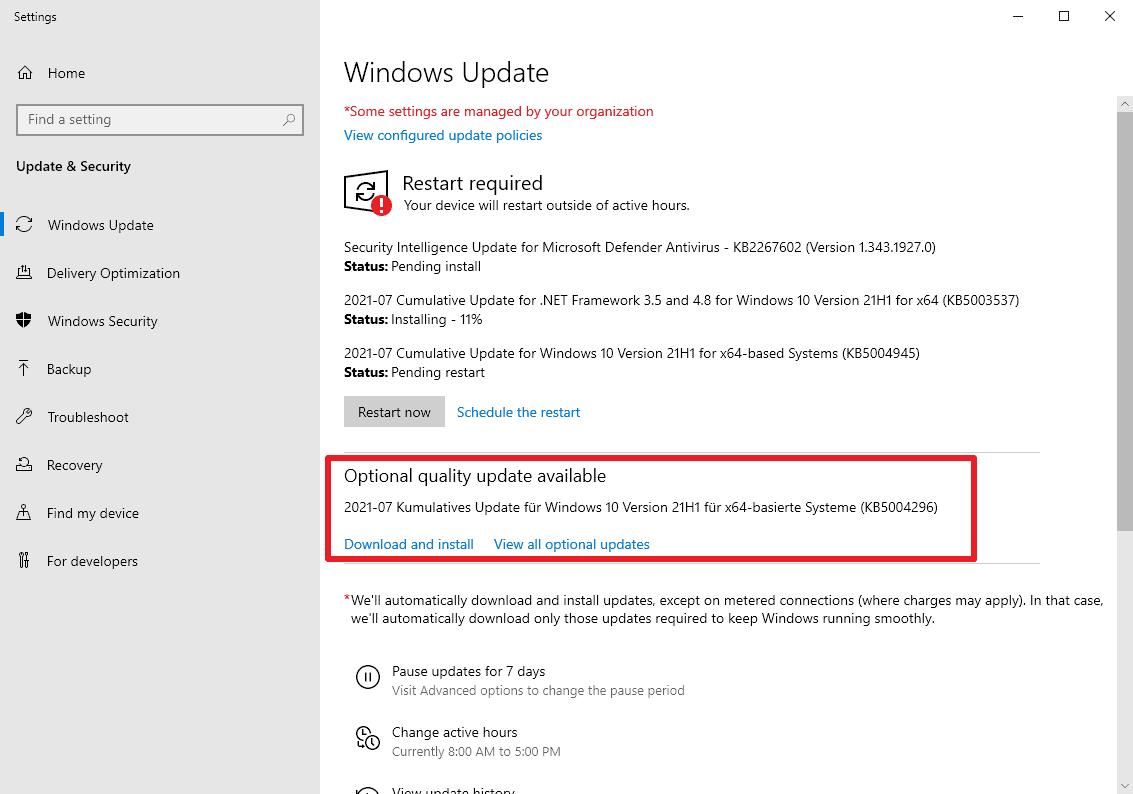KB5004296 optional update windows 10