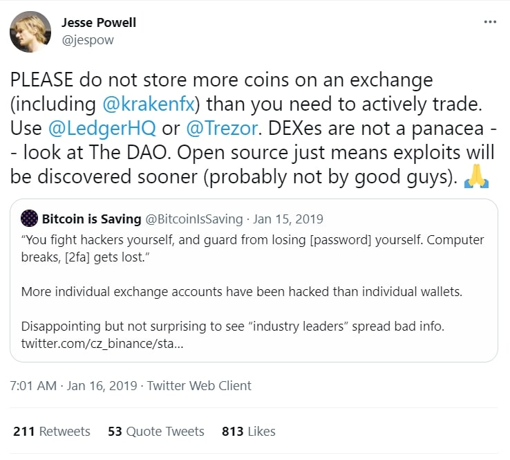 Kraken founder tweets warning about crypto exchanges for cryptocurrency investing