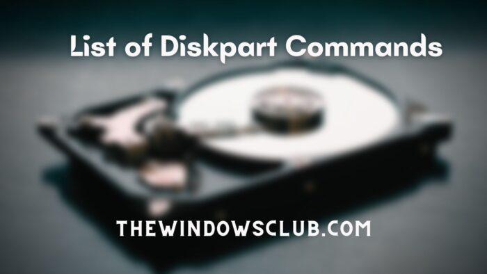List of Diskpart Commands
