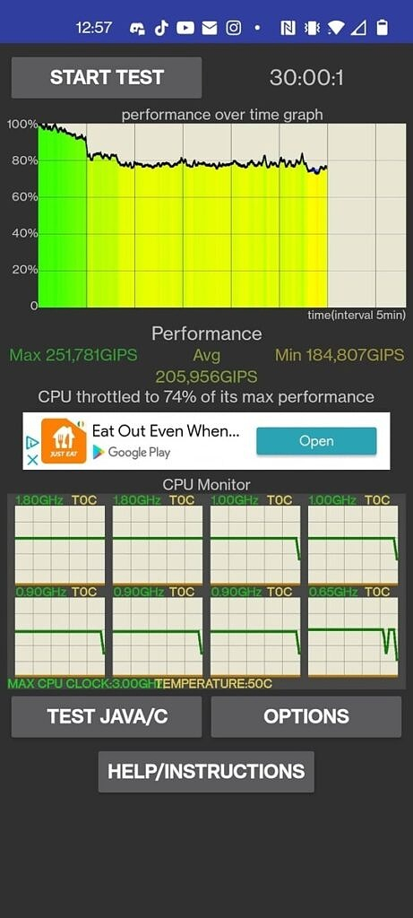 OnePlus Nord 2 CPU throttling test