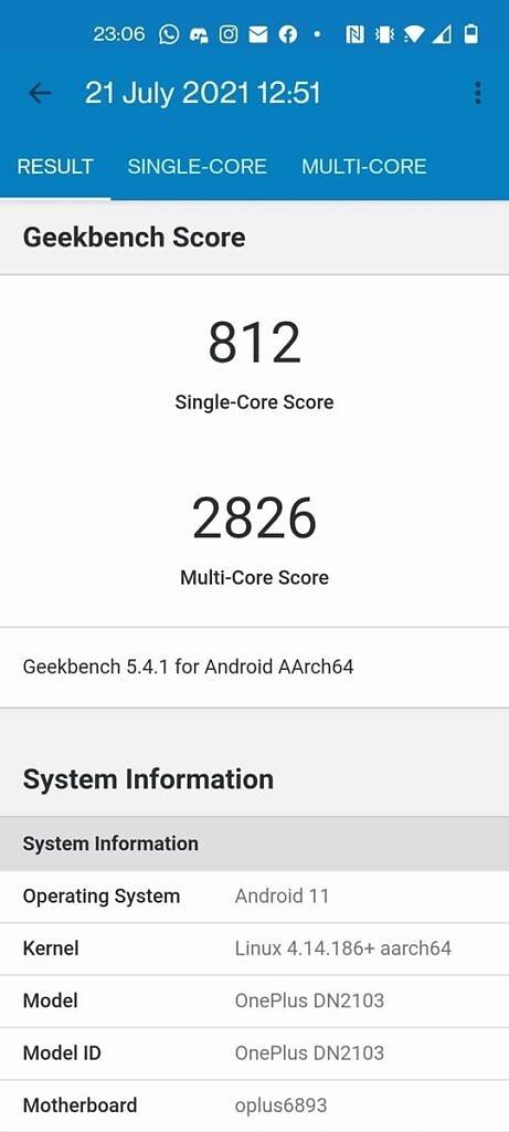 OnePlus Nord 2 Geekbench 5 test