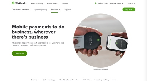 Home page of QuickBooks GoPayment