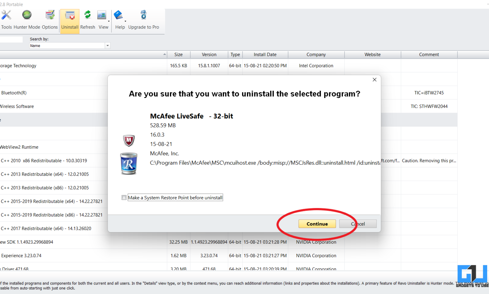 Uninstall and Remove McAfee LiveSafe from Windows