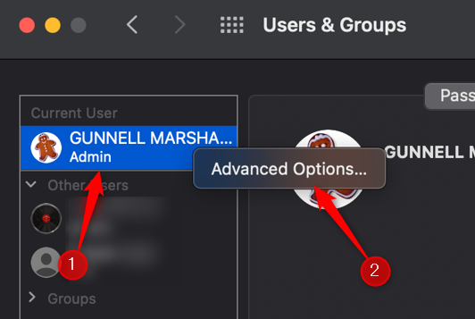 """Right-click your user name and then click """"Advanced Options."""""""
