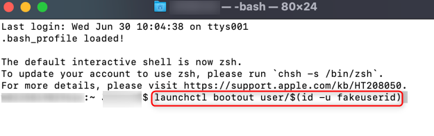 Run the launchctl bootout user command.