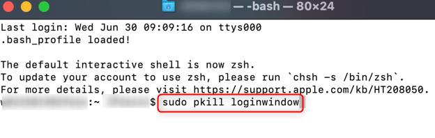 "Run the ""sudo pkill loginwindow"" command."