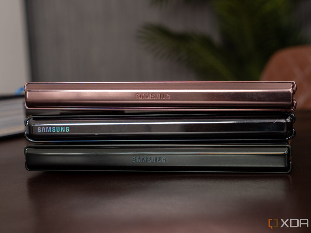 Three generations of the Samsung Galaxy Z Fold on top of each other