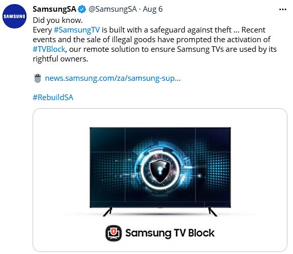 Samsung TV Block tweet