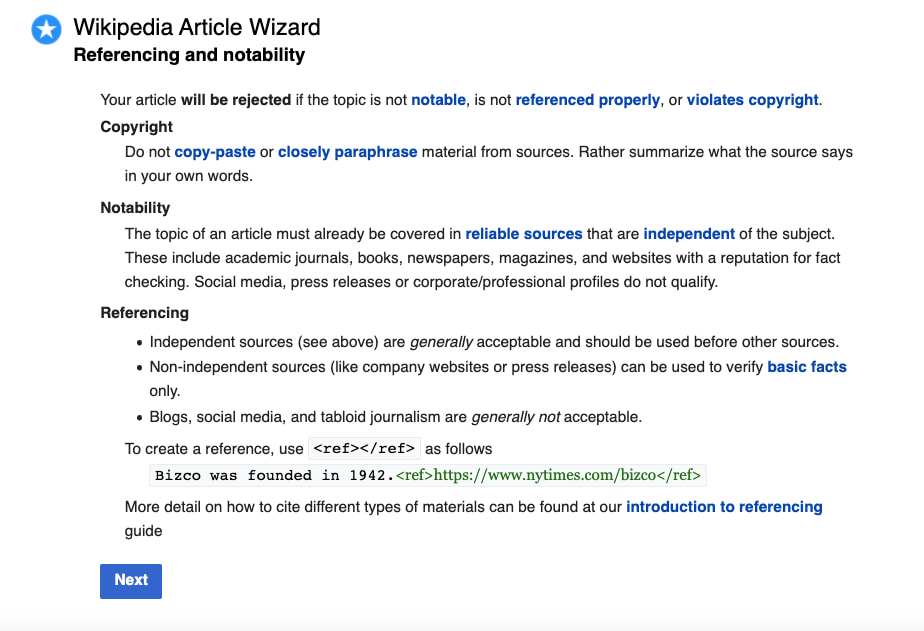 creating a wikipedia page for your company: provide citations