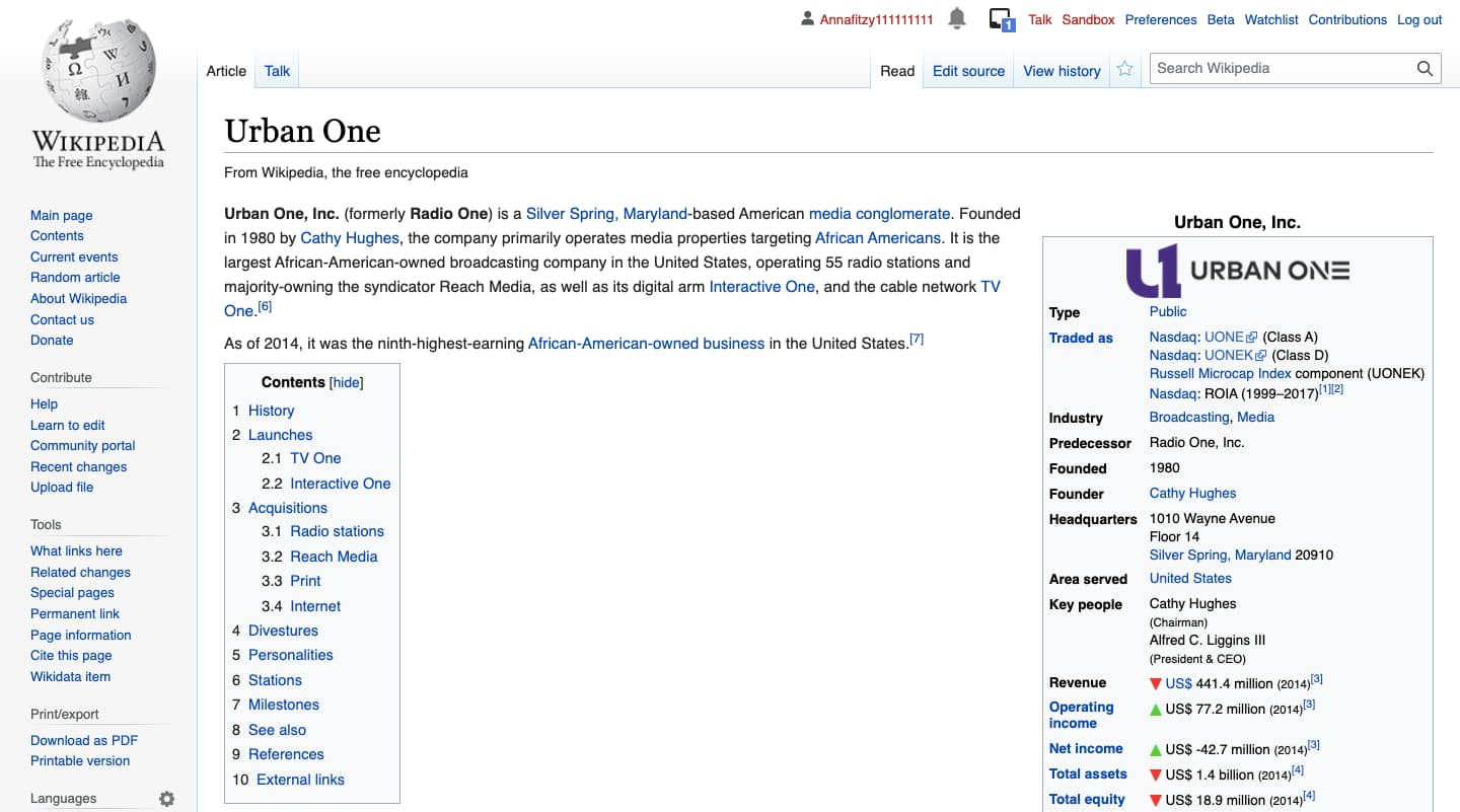 examples of company pages on wikipedia: Urban One