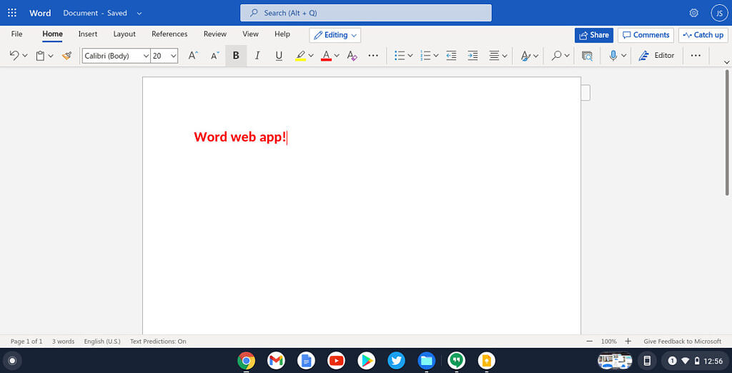 Microsoft Word web app on Chrome OS