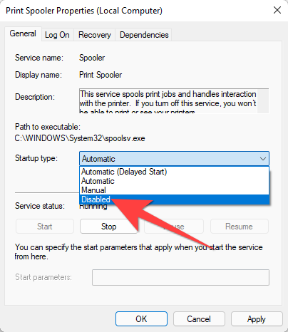 """Select the drop-down next to """"Startup Type:"""" and choose """"Disabled."""""""