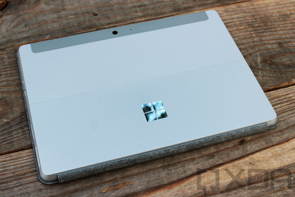 Angled view of Surface Go on wooden table