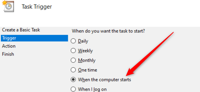 """A set of radio buttons in Windows 10 with a red arrow pointing to the """"When the computer starts"""" option."""