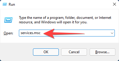 """Type """"services.msc"""" and hit Enter to launch the Windows services panel."""