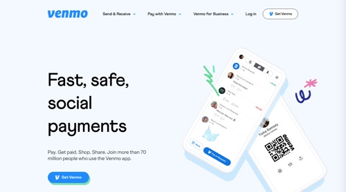 Home page of Venmo