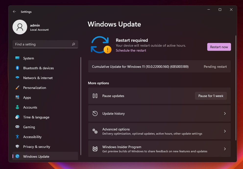 Windows 11 KB5005189