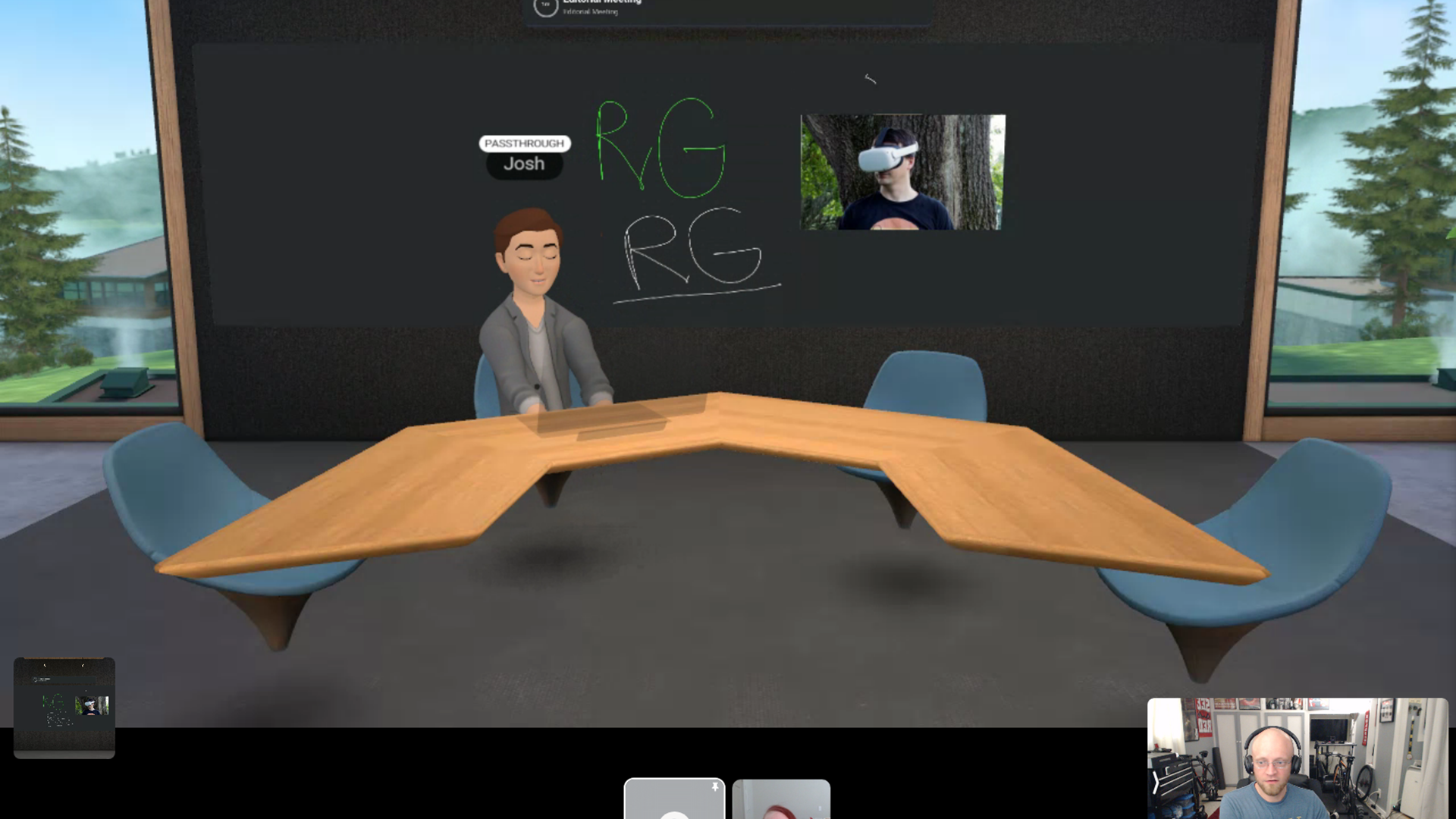 A VR avatar with eyes closed at a desk.