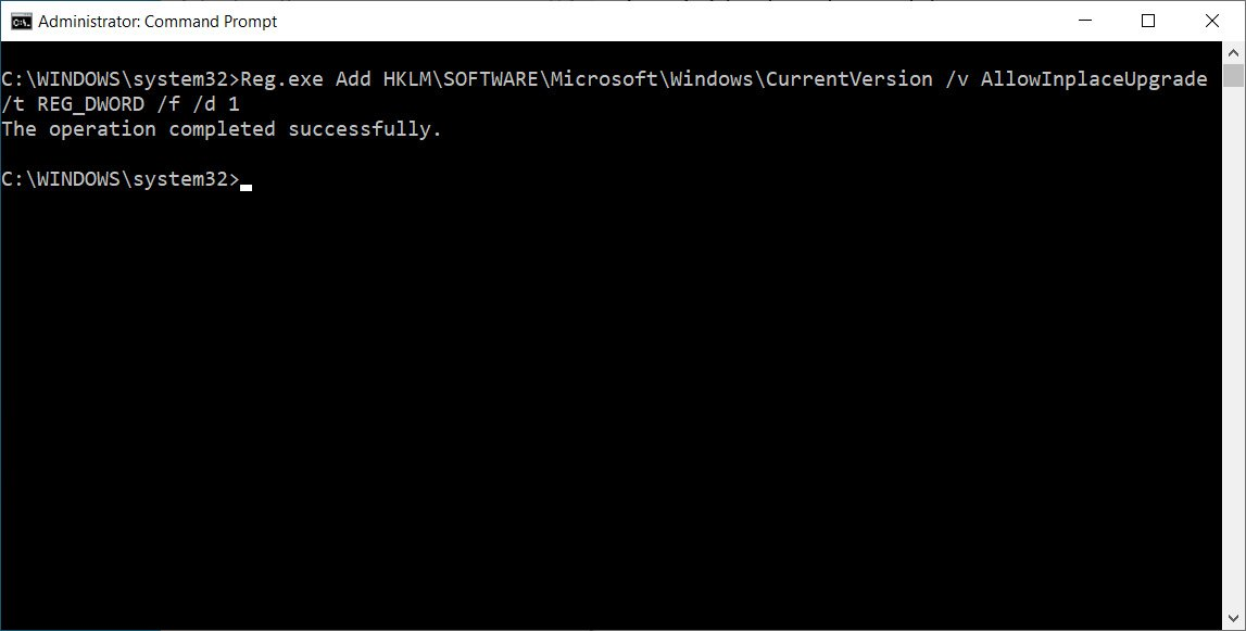 Adding Registry entry to trigger an in-place upgrade