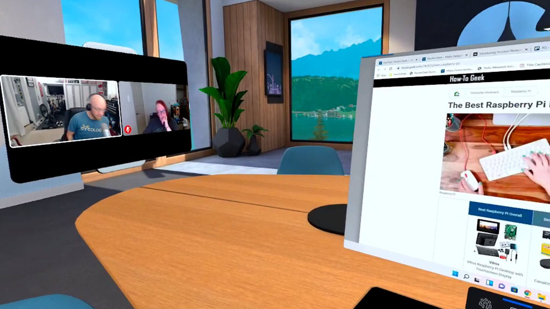 A conference room with a Zoom-like screen call in the middle.