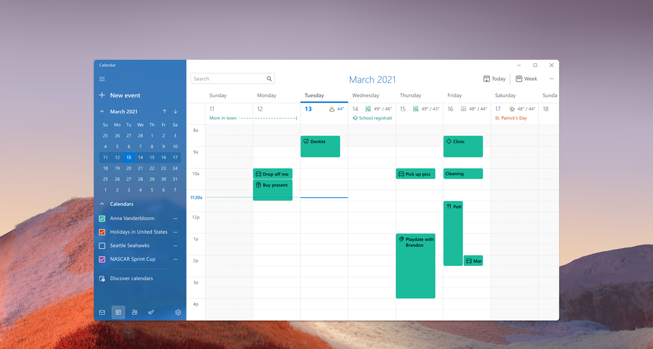 Calendar app with new Windows 11 visuals in light mode.