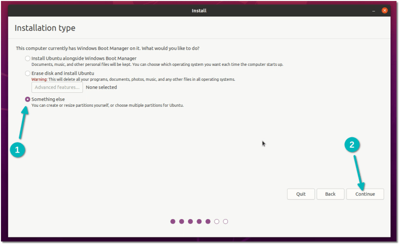 choose something else installing ubuntu