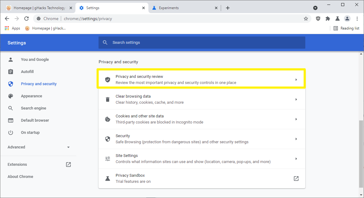 chrome privacy and security review