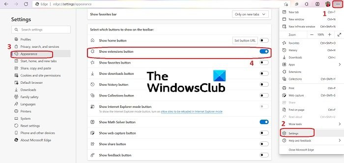 How to remove the Extensions menu button from Microsoft Edge