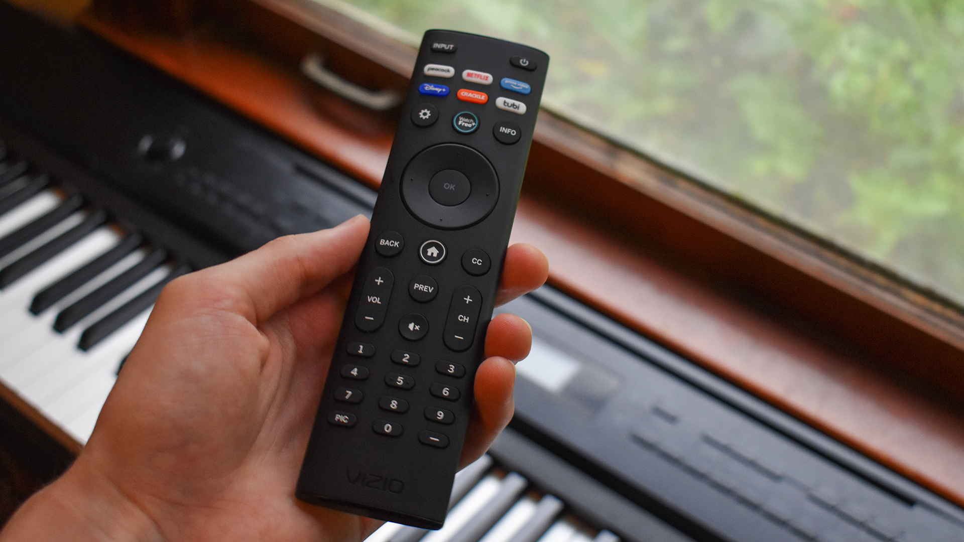 The Vizio TV's remote control.