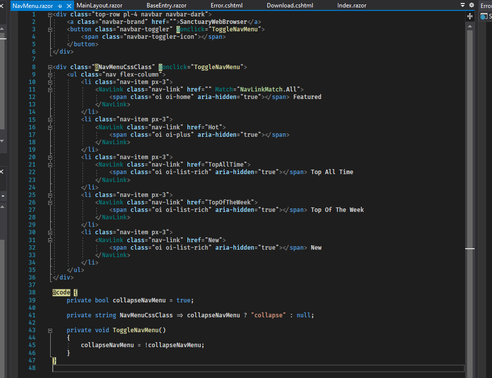 Meanwhile, with Razor, you can make more streamlined pages or components with integrated code on the page itself.