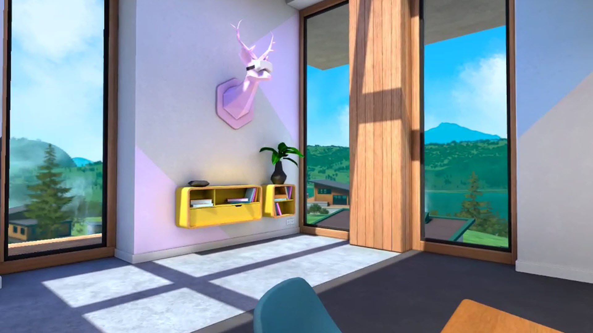 A VR deer head on a wall wearing a VR headset