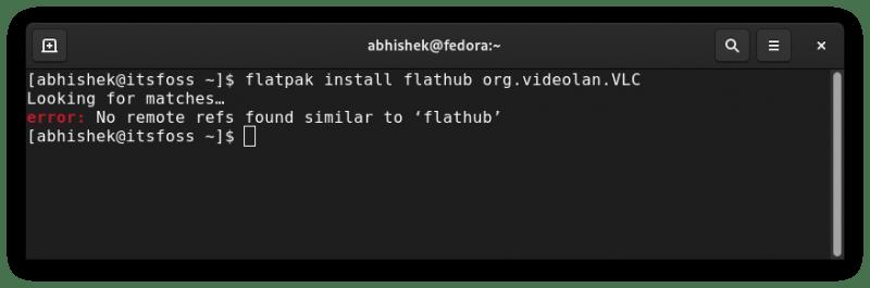 flatpak remote ref not found error