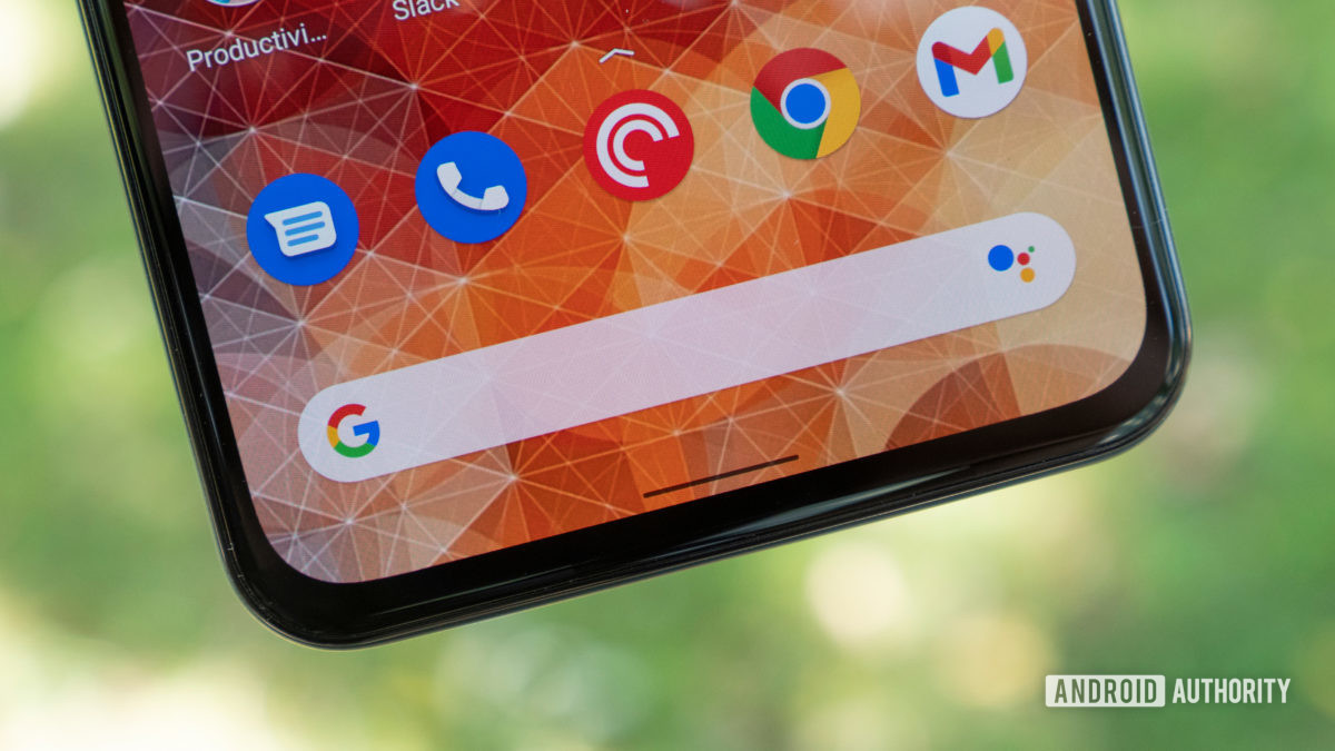 the google pixel 5a home screen showing a close up of the google search bar