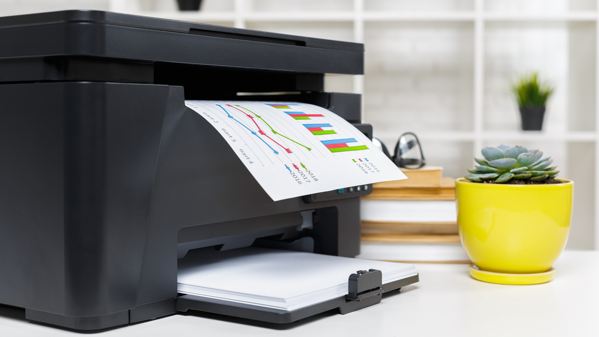 A home printer printing colorful spreadsheets next to a potted succulent.