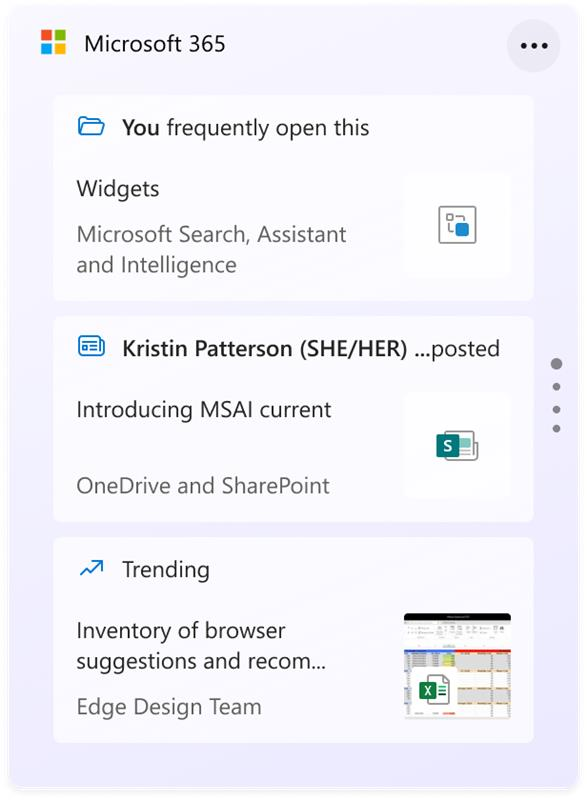 """The new Microsoft 365 widget, with """"you frequently open this"""" and """"trending"""" files."""