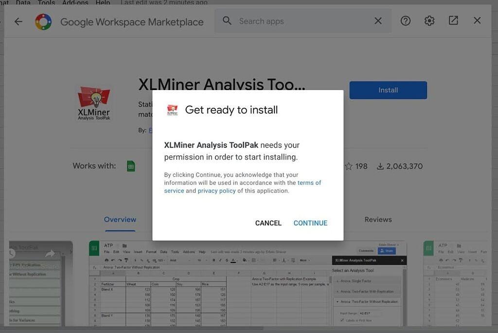 XL Miner install screen