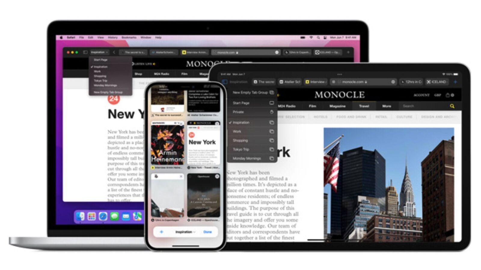 New synced tabs Safari
