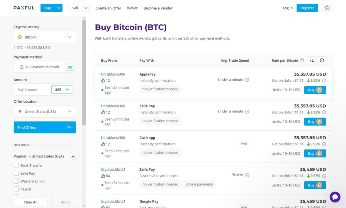Screenshot of paxful, a p2p crypto trading platform for cryptocurrency investing