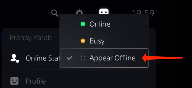 """Select """"Appear Offline"""" to stop telling your friends when you're online on the PS5. This option appears under """"Online Status."""""""