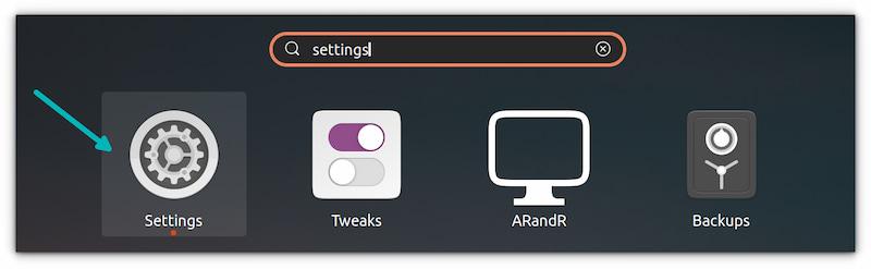 settings application ubuntu