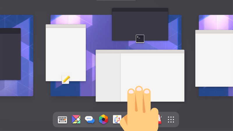 Three fingers swipe in GNOME
