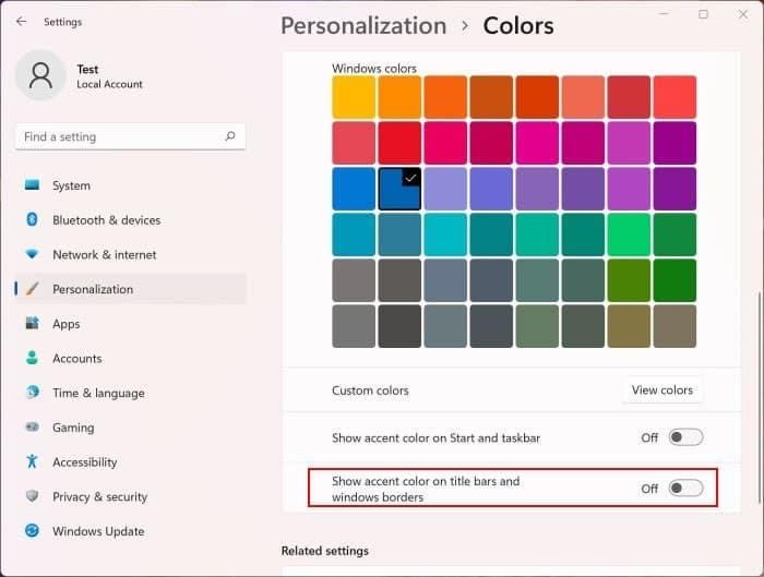 turn off window border color in Windows 11 pic2