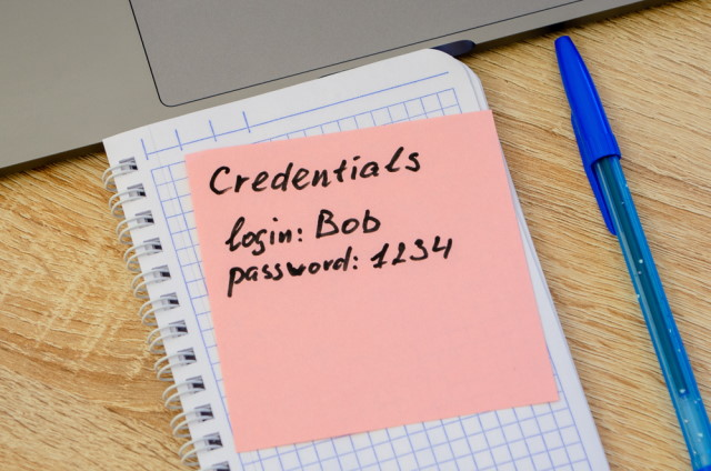 Credentials on sticky note