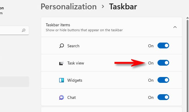 """Flip the """"Task View"""" switch to """"On."""""""